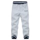 Men's Popular Fashion Letter Printed Contrast Stripes Elastic Waist Cotton Blend Sports Sweatpants