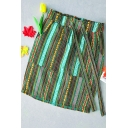 Summer Girls New Stylish Cotton & Linen Colorful Stripe Mini Fitted Skirt