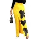 Summer Girls Hot Fashion Chic Yellow&Black Print Split Side Maxi High Waist Skirt