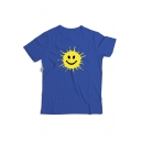 Funny Cute Cartoon Smile Face Printed Round Neck Short Sleeve Casual Tee