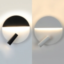 Black/White Circular Wall Sconce Lighting Simple Style LED Wall Light with Rotatable Spotlight