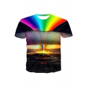 Cool Rainbow Cloud 3D Printing Round Neck Short Sleeve Black Tee