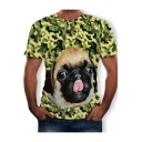 Unique Fashion Green Camo Dog 3D Printed Round Neck Short Sleeve Fitted Tee