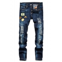 Men's Cool Fashion Badge Patchwork Blue Mid Waist Ripped Jeans