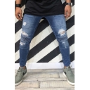 Men's Popular Fashion Knee Pleated Design Blue Skinny Ripped Biker Jeans