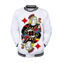 Funny Fashion Queen Poker Card 3D Print Rib Stand Collar White Baseball Jacket