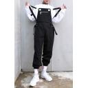 Guys Stylish Adjustable Straps Straps Elastic Cuff Zip Ribbon Embellished Loose Casual Cotton Black Workwear Bib Overalls