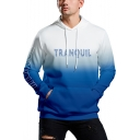 Mens Simple Letter TRANQUIL Print Fashion Ombre Color Blue Sport Loose Hoodie