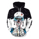 Popular Cool Starry Skull Figure Pattern Long Sleeve Black Drawstring Hoodie