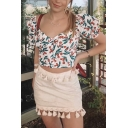 Vintage Girls Square Neck Puff Short Sleeve Strawberry Pattern Slim Cropped Blouse Top