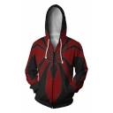 Hot Popular Black and Red Spider Pattern Long Sleeve Zip Up Sport Loose Hoodie