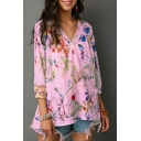 Womens Fancy Floral Pattern Button V-Neck Three-Quarter Sleeve Loose Fit Blouse Top