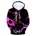 Stylish Cool Purple Lightning Comic Figure 3D Printing Long Sleeve Unisex Pullover Hoodie
