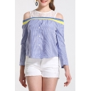 Chic Lace Panel Cold Shoulder Long Sleeve Button Down Blue Striped Blouse Shirt