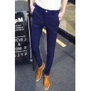 Men's New Fashion Simple Plain Elastic Slim Fit Casual Cotton Pencil Pants