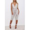 Womens Summer Hot Fashion Halter Plunge V Neck Tie Waist Skinny Fitted Plain Romper