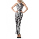 Womens Hot Stylish Halter Sleeveless Printed Zip-Back Fitted Jumpsuits