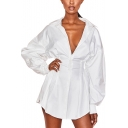 Womens Unique Trendy Simple Solid Color Long Sleeve Gathered Waist Mini Shirt Dress
