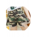 Trendy Green Camouflage Pattern Distressed Ripped Loose Fit High Rise Denim Shorts
