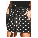 Classic Fashion Black Polka Dot Print Tied Waist High Rise Loose Fit Culottes Shorts