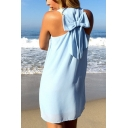Summer Trendy Simple Plain Sleeveless Bow-Tied Back Mini Beach Tank Dress