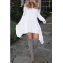 Womens Summer Sexy Off Shoulder Long Sleeve Plain White Asymmetric Dress