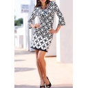 Fashion Black Geometric Floral Printed Round Neck Three-Quarter Sleeve Mini Pencil Dress