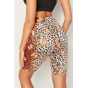Trendy Butterfly Leopard Printed Khaki Slim Fit Yoga Cycling Shorts
