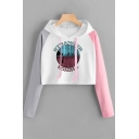 Fashion Stranger Things Color Block Long Sleeve Casual Cropped Drawstring Hoodie