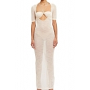 Womens Hot Trendy Simple Plain Halter Neck Cutout Front Sexy Transparent Maxi Bodycon Party Dress in White