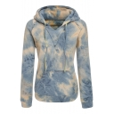 Womens Fancy Ombre Color Tie Dye Print Long Sleeve Fitted Hoodie