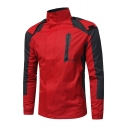 Mens Hot Popular Fashion Color Block Long Sleeve Hooded Waterproof Mountain Jacket