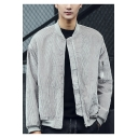 Mens Simple Solid Color Stand Collar Long Sleeve Light Grey Zip Up Corduroy Jacket