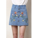 Womens Chic Floral Embroidery Button Front Light Blue Denim Skirt