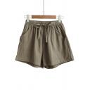 Summer Trendy Drawstring Waist Linen Loose Pull-On Shorts for Women