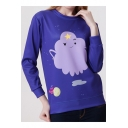 Womens Blue Cartoon Star Print Crewneck Long Sleeve Fleece Sweatshirt