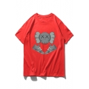 Funny Cartoon Shoes Character Print Summer Loose Fitted T-Shirt