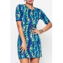 Trendy Elegant Womens Short Sleeve Round Neck Printed Mini T-Shirt Dress