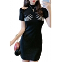 Summer Hot Fashion Plain Cold Shoulder High Neck Short Sleeve Skeleton Hand Print Mini Bodycon Dress