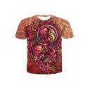 Cool Painted Comic Figure Print Summer Round Neck Short Sleeve T-Shirt