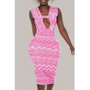 New Stylish Summer Womens Pink Tribal Print Sleeveless Cutout Bodycon Midi Dress for Party