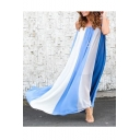 Womens Hot Fashion Chiffon Patch Casual Loose Maxi Straps Dress