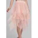 Womens Hot Stylish Sequin Embellished Cake Mesh Elastic Waist Midi Skirt
