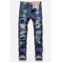 Men's Popular Fashion Stretch Regular Fit Blue Ripped Jeans with Holes