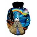 Blue Galaxy Rainbow Unicorn Comic Character Sport Casual Drawstring Hoodie