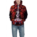 Halloween New Stylish Cool Rose Floral Figure Print Red Drawstring Hoodie