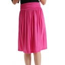 Summer Hot Sale Plain High Waist Shirred Cotton Casual Holiday Midi Flare Skirt
