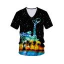 Mens Trendy Black Starry Dropped Oil Painting Coconut Print V-Neck Short Sleeve Tee