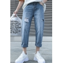 Guys Simple Fashion Solid Color Rolled Cuffs Straight Relaxed Fit Distressed Ripped Jeans