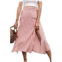 Womens Hot Fashion Red Stripped High Waist Split Side Midi Summer Skirt